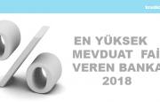 En Yüksek Mevdaut Faizi Veren Bankalar 2018