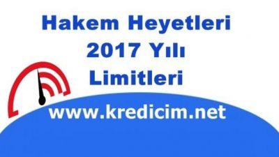2017 Yılı Hakem Heyeti Limitleri